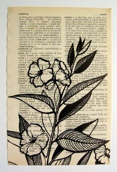 Blossoms - linocut print on dictionary page via Etsy