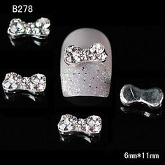 Tint 10pcs Cute Rhinestone Bowtie Alloy Nail Tips DIY Nail Art Decoration -- Check out this great product.