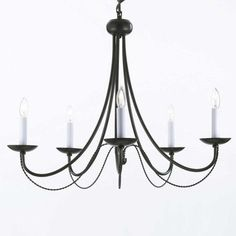 This could look cool with Edison bulbs! Harrison Lane Versailles 5 Light Candle Chandelier - Walmart.com