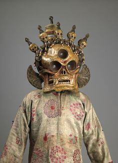"""A Cittipatti skull mask and costume from Mongolia, part of """"Remember That You Will Die:Death Across Cultures"""" at the Rubin Museum of Art in New York, Mr. Ian Triay (Art News Caption Tibetan Art, Tibetan Buddhism, Statues, Tribal Costume, Skull Mask, Masks Art, Skull And Bones, Memento Mori, Mongolia"""