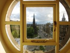 City view from the Balmoral Hotel in Edinburgh, Scotland.