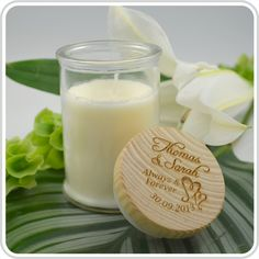 Our Vanilla & Caramel Palm Wax Scented Candles personalised with your own special message make a unique bomboniere and beautiful thank you gift for your special day.
