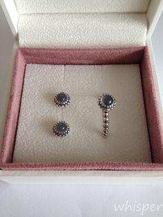 Pandora moonstone earrings and ring.