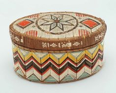 Covered basket container  Native American (Micmac), about 1875  Porcupine quills and birch bark  Maine or Nova Scotia