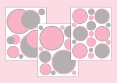POLKA DOT DECAL Pink Grey Girl Nursery Circle Wall Art Stickers Baby Room Decor Children Gray Teen Bedroom Kids Geometric Modern Mod Design #decampstudios