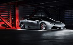 Lataa kuva Katsella ilmaiseksi Lamborghini LP640-4, superautot, autotalli, hopea Huaracan, Lamborghini
