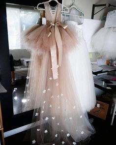 Items similar to Detachable Champagne tan tulle train with scattered flowers. on Etsy Floorlength tulle train with scattered flowers. by somsicouture on Etsy Little Girl Dresses, Girls Dresses, Cheap Flower Girl Dresses, Flower Girl Tutu, Baby Flower, Cute Dresses, Beautiful Dresses, Kids Gown, Birthday Dresses
