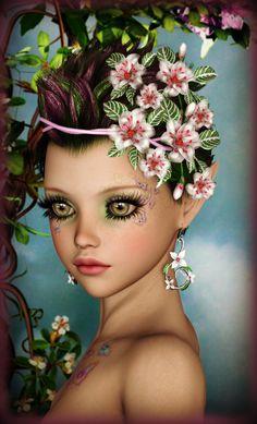 Cute Flower Elf by on DeviantArt Fantasy Art Women, 3d Fantasy, Fantasy Girl, Fantasy Paintings, Fantasy Artwork, Beautiful Fairies, Beautiful Dolls, Wallpaper Emoticon, Creature Picture