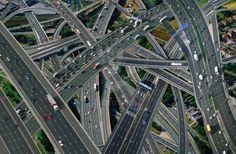 Aerial Motorway Interchange Uk Traffic roads cars