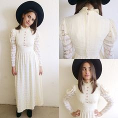 Vintage 60's Cream Lace High Ruffled Collar Victorian Style Maxi/Wedding Dress S SOLD! https://www.etsy.com/listing/202101715/vintage-60s-cream-lace-high-ruffled?
