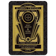 Great Gatsby roaring twenties art deco black and gold engagement party invitation. Unique art deco frame and damask background.