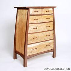 Spalted Maple and Walnut 6-drawer Dresser