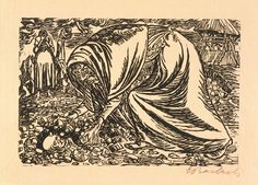 Ernst Barlach (German, 1870–1938)  Death of a Child, 1919  Woodcut  block: 9 3/8 x 14 in. (23.81 x 35.56 cm) largest sheet size: 14 1/2 x 19 3/4 in. (36.83 x 50.17 cm) smallest sheet size: 14 1/2 x 19 1/2 in. (36.83 x 49.53 cm) mat: 22 x 28 in. (55.88 x 71.12 cm)  Marcia and Granvil Specks Collection M2000.228   Photo credit Michael Tropea