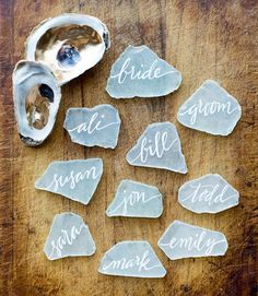 Sea Glass calligraphy escort cards