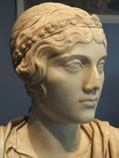 Bust of a young woman, possibly a priestess judging from her diadem and hairstyle,  late Roman era