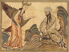 Mohammed receiving revelation from the angel Gabriel - Maomé – Wikipédia, a enciclopédia livre