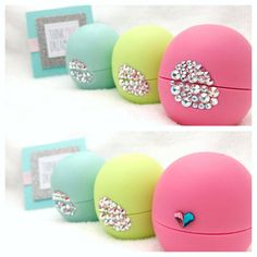 3 Swarovski Crystalized eos lip balms by thinkpinkdreamblue