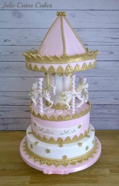 Carousel for a Christening - Cake by Julie Cain