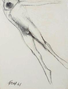 """ELIZABETH FRINK 'Bird Man' 1961 Signed Charcoal on paper 74cm x 55cm 29⅛"""" x 21⅝"""" Framed http://www.andelliart.com/dame-elizabeth-frink-ra-1930-1993/"""