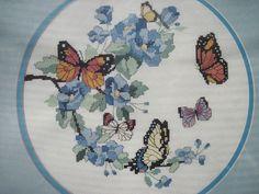 Dimensions Blossoms & Butterflies No Count Cross Stitch Kit Monarchs Blue Floral #Dimensions #NoCountCrossStitchKit