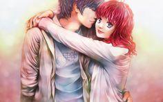 art, couple, hug, love, happy, manga anime love, cute, wallpaper