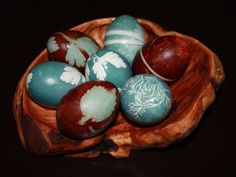 Natural dyed eggs with herb relief designs