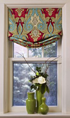 pop of red- (kitchen) window treatments in windows Roman shades Kitchen Window Treatments, Custom Window Treatments, Valance Window Treatments, Rideaux Design, Relaxed Roman Shade, Curtains With Blinds, Roman Blinds, Burlap Curtains, Window Curtains