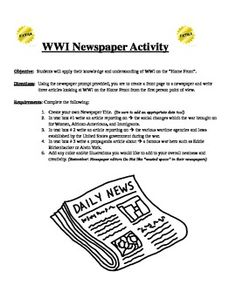 World War I Newspaper Activity