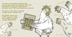 O frango foi um símbolo do Plano Real, pois um quilo podia ser comprado com 1 URV. Na prática, o preço do frango estaria marcado como 1 URV na prateleira do mercado. No caixa, o valor seria convertido e pago como o cruzeiro real. No primeiro dia em que a URV começou a valer, por exemplo, o frango custaria CR$ 647,50. Imagem: Marcos Farrell / UOL. http://economia.uol.com.br/album/2015/06/30/plano-real-completa-21-anos-entenda.htm#fotoNav=6