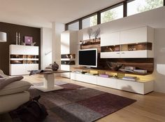 Casale wall storage unit with cabinet and display case in white matt with walnut…