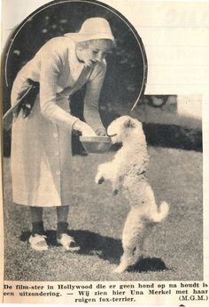 Actress Una Merkel with a fox terrier, 1937.