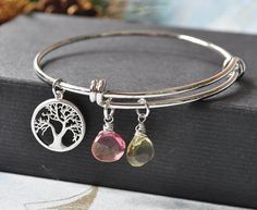 Personalized Birthstone and Family Tree Charm Bangle Bracelet, Silver Adjustable Bangle Bracelet, Alex and Ani inspired,