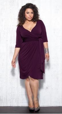 Plus Size Purple Faux Wrap Dress at www.curvaliciousclothes.com Sizes 1X - 5X I.LOVE.THIS. ♥