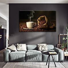 Coffee Bean Multi Panel Canvas Wall Art by ElephantStock will complement any type of room and become an amazing focal point.Our artworks are all Ready-To-Hang a