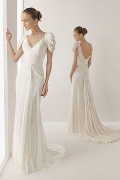 Perfect V Neck Sheath Court Train Chiffon Wedding Dresses V Back