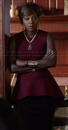 Annalise's burgundy peplum top on How to Get Away with Murder.  Outfit Details: http://wornontv.net/39888/ #HTGAWM
