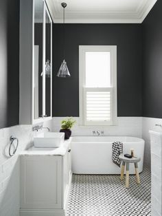 Get Inspired with 20 Luxury Black and White Bathroom Design Ideas Stunning Black and White Subway Tiles Bathroom Design Bathroom Tile Designs, Bathroom Colors, Bathroom Interior Design, Bathroom Ideas, Bathroom Renovations, Bathroom Makeovers, Bathroom Organization, Restroom Design, Bathroom Trends