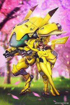 D.Va Pokemon style /commission/ by AyyaSAP.deviantart.com on @DeviantArt - More at https://pinterest.com/supergirlsart #pikachu #pichu #pokemon #overwatch #dva #fanart