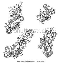 Set of Mehndi flower pattern for Henna drawing and tattoo. Decoration in ethnic oriental, Indian style. Paisley Flower Tattoos, Paisley Tattoo Design, Mehndi Flower, Lace Tattoo Design, Estilo Mehndi, Mehndi Art Designs, Henna Tattoo Designs, Henna Tattoos, Art Tattoos