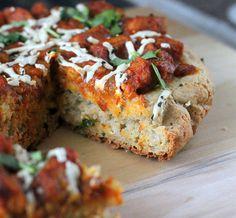 Glutenfree Oat Rice Focaccia style Pizza Crust with Tempeh Tikka Masala. gluten-free gum-free vegan recipe