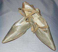 Shoe. Light blue silk, silk ribbon, linen, leather. France, circa 1797.