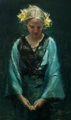 """Golden Orchids"" - Johanna Harmon (b. 1968), oil on linen {figurative #expressionist art blonde female standing woman blue dress painting #loveart} johannaharmon.com"