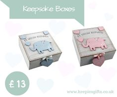"""My Special Keepsakes Treasure Your Most Precious Memories Forever In These Gorgeous Elephant Themed Keepsake Boxes Text On The Centred Hearts Read """" Mommy And Daddy Love Me"""""""