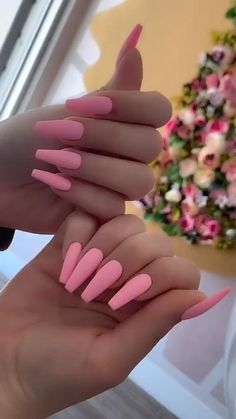 Matte Pink Nails, Bling Acrylic Nails, Summer Acrylic Nails, Best Acrylic Nails, Purple Nails, Gel Nails, French Acrylic Nails, Coffin Nails, Summer Nails
