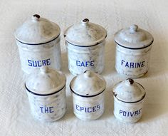 French Enamel Canister Set Blue Full set of 6 by FrenchGypsy, $138.00