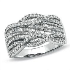 I need this ring in my life! 1/2 CT. T.W. Round and Baguette Diamond Swirl Band in 10K White Gold - Size 7