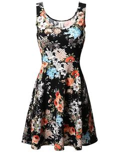 MBE Women s Floral Flare Sleeveless Dress MADE in USA at Amazon Women s  Clothing store  33b755c50