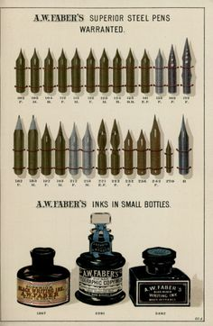 A.W. Faber catalog from 1897 | Surerior steel pens warranted & Inks in small bottles.