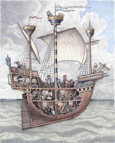 Boat Drawing, Ship Drawing, Drawing Base, Boat Building Plans, Boat Plans, Old Sailing Ships, Below Deck, Boat Art, Wood Boats