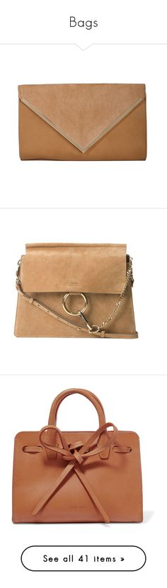 """Bags"" by aylin-schroeder on Polyvore featuring bags, handbags, clutches, purses, tan clutches, tan suede purse, handbags purses, suede handbags, handbags clutches und shoulder bags"